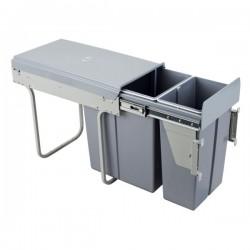 Kosz na śmieci 10L+20L-30cm/SZARY (MOC. FRONTU)