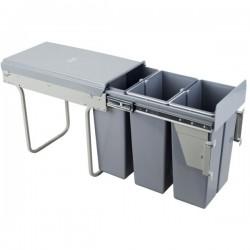 Kosz na śmieci 3x10L-30cm/SZARY (MOC. FRONTU)