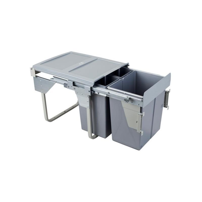 Kosz na śmieci 2x20L-45cm/SZARY (MOC. FRONTU)