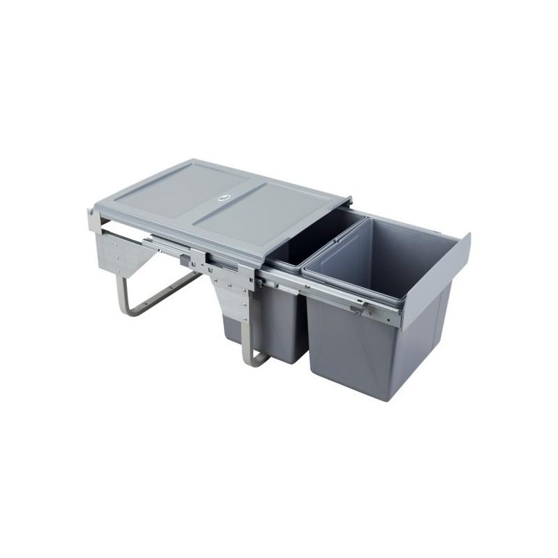 Kosz na śmieci 2x15L-45cm/SZARY