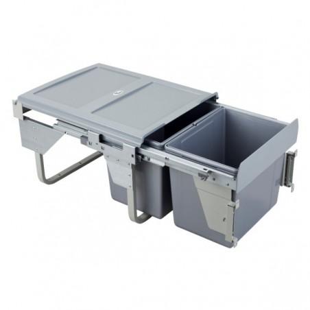 Kosz na śmieci 2x15L-45cm/SZARY (MOC. FRONTU)