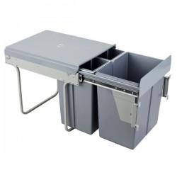 Kosz na śmieci 2x10L+20L-40cm/SZARY (MOC. FRONTU)