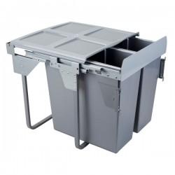 Kosz na śmieci 2x34L-60cm/SZARY (MOC. FRONTU)