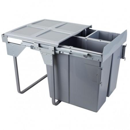 Kosz na śmieci 2x17L+34L-60cm/SZARY (MOC. FRONTU)