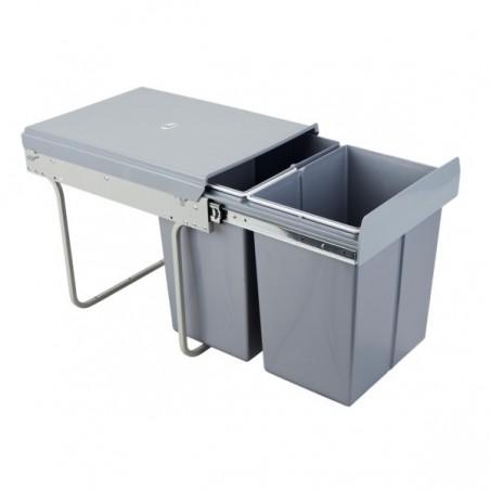 Kosz na śmieci 2x20L-40cm/SZARY