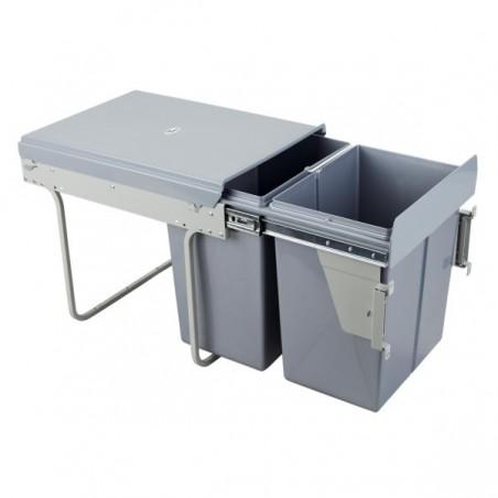 Kosz na śmieci 2x20L-40cm/SZARY (MOC. FRONTU)