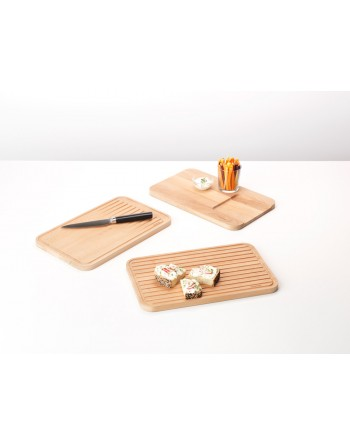 Zestaw 3 desek drewnianych Profile 260780