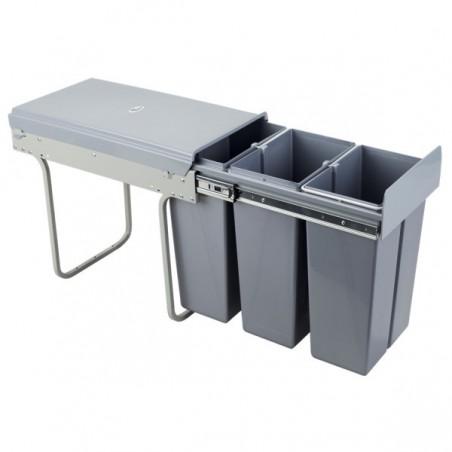 Kosz na śmieci 3x10L-30cm/SZARY